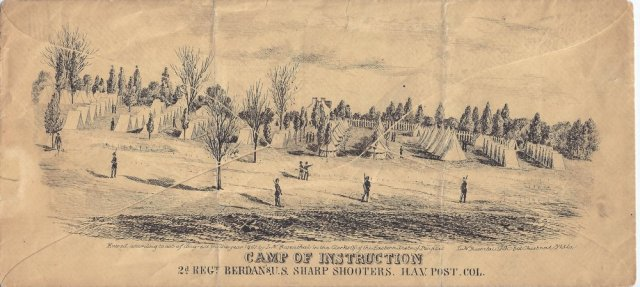 "The United State Sharp Shooter 2nd Regiment Camp of Instruction, located on a rise about a mile and a half north of the Capitol Building. Col. Hiram Berdan, the founder and commander of the two ""Sharps"" regiments, lived in the house in the center of the illustration. (Library of Congress)"