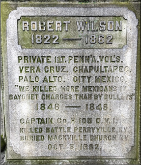 Marker in Riverside Cemetery dedicated to Capt. Robert Wilson. (Image courtesy of author)