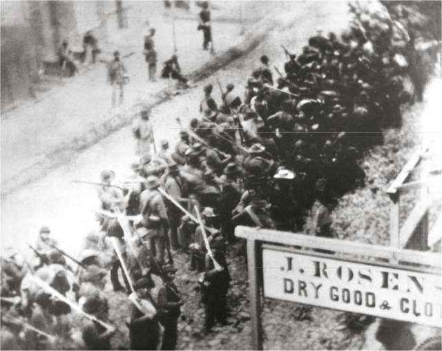 Rebel troops marching out of Frederick