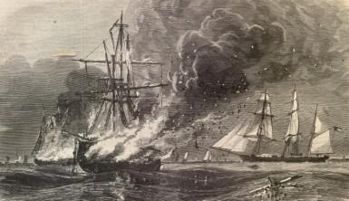 CSS Tacony burns Union shipping